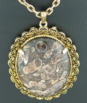 Beautiful Brown Toned Stone Pendant Necklace with Gold Tone Chain Nec1012