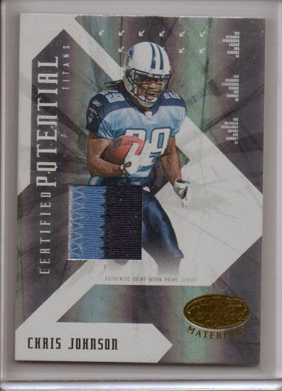 2008 Leaf Certified Chris Johnson Cert. Potential 3 Color Patch #13/25
