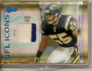 2010 Absolute Junior Seau NFL Icons 2 Color Patch #11/50