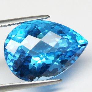 18.61ct Natural Sparkling Pear Checkerboard Blue Topaz