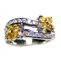** NICE ** Silve ring with Natural Yellow Sapphire and white Cubic Ziconia