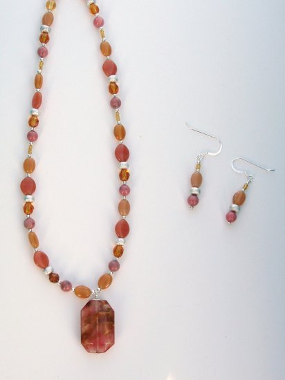 Golden Cherry Fire Necklace and Earring Set