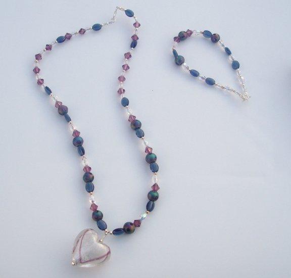 Snowy Heart Necklace and Bracelet
