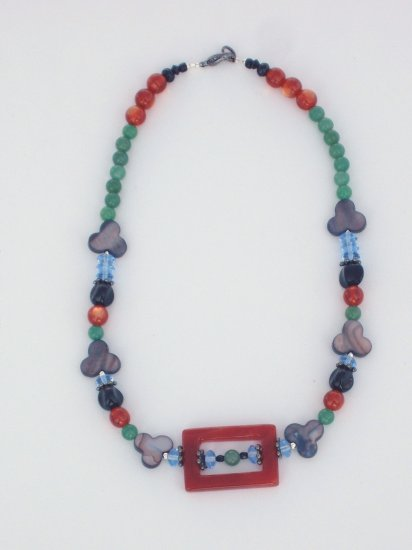Hodge Podge Necklace of Adventurine, Agate, Mother of pearl Multi colored