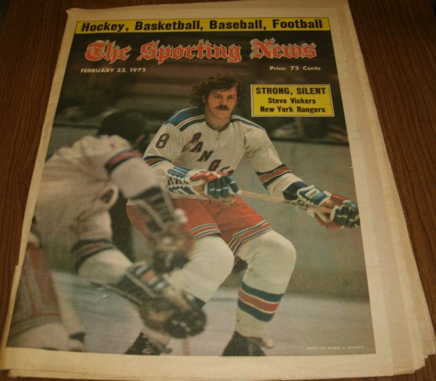 The Sporting News February 22, 1975 issue Stven Vickers New York Rangers
