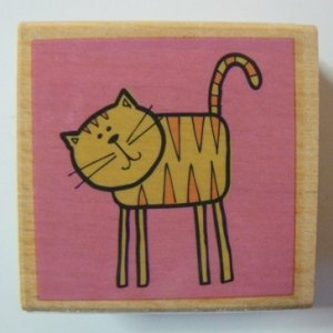 Striped Standing Tiger Kitty Cat Mounted Rubber Stamp