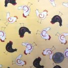 1 Yard - Cotton Sewing Fabric – Black & White Chickens on Yellow