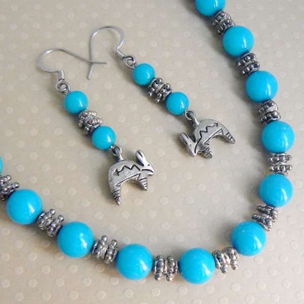 Southwest Rabbit Necklace and Earrings Set