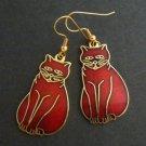 Cloisonne  Enamel Kitty Cat Dangle Earrings - Cranberry Red