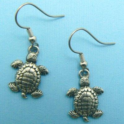 Turtle Pewter Earrings - (Silver Toned)