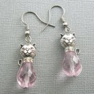 Cat Glass Drop Earrings: Silver Plated / Pink