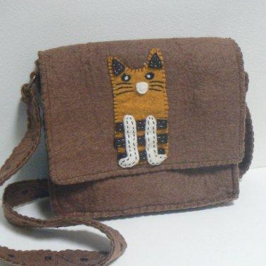 Brown Felt Cat Purse w/ Orange Tabby