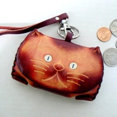 Leather Kitty Cat Coin Change Purse - Tan