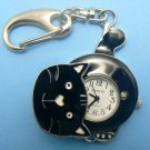 Black Kitty Cat Pocket Watch w/ Movable Head