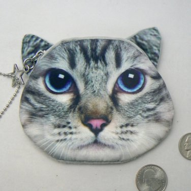 Gray Tabby Kitty Cat Face Coin Change Purse