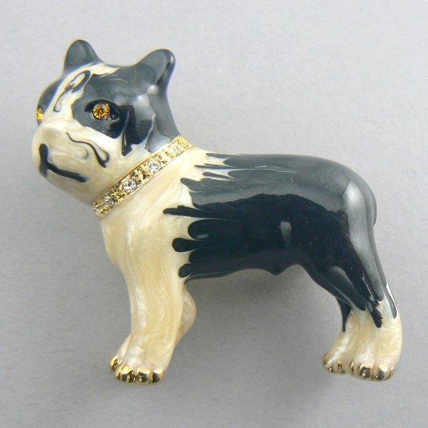 Boston Terrier B/W Dog Enamel Pin