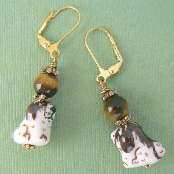 Dog Porcelain & Tigers Eye Bead Earrings