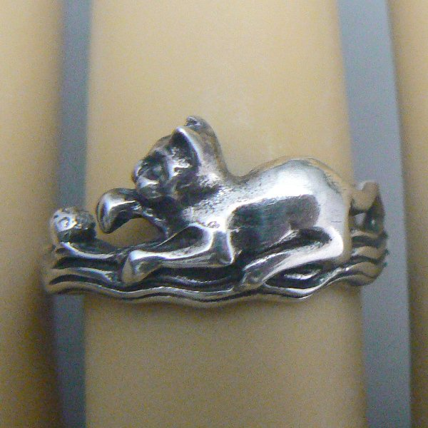 Kitty Cat with Ball Sterling Silver Ring - (Size 7)