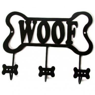 Black Metal Dog Bone Woof Leash Holder Wall Rack