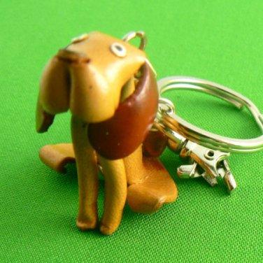 Leather Hound Dog Key Chain Keychain Ring