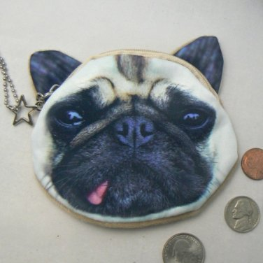 Pug Puppy Dog Face Coin Change Purse