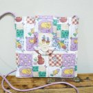 Small Square Fabric Purse w/ Purple Patch Cats