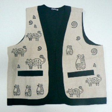Kitty Cat Block Print Vest - Cream - Size (MED)