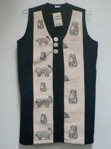 Whimsical Cats Long Cream & Black Vest - MED
