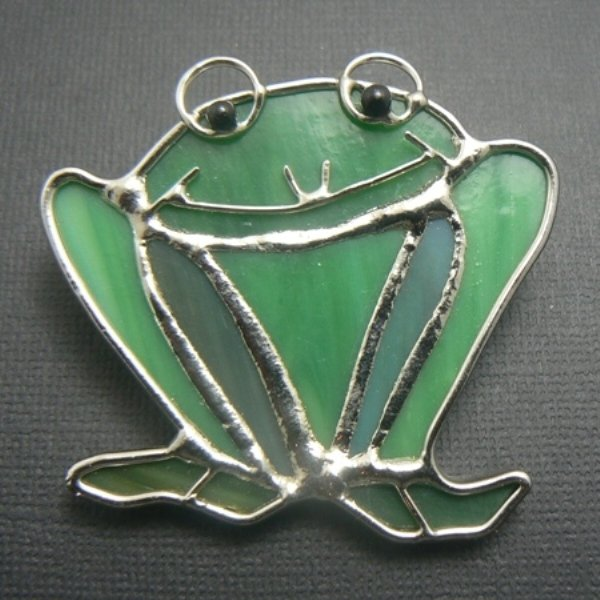 Stained Glass Green Frog Pin Brooch