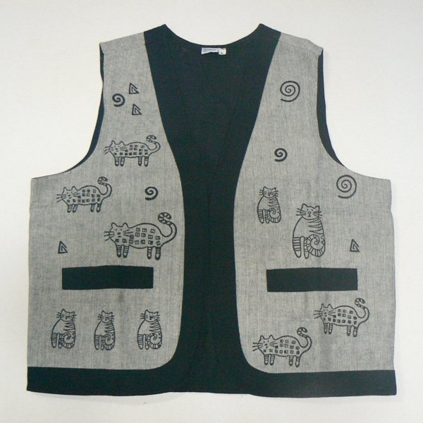 Whimsical Cats Woven Vest � Gray - SML