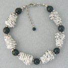 Cat Porcelain & Black Onyx Bead Bracelet