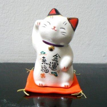 Porcelain Good Luck Lucky Cat Figurine