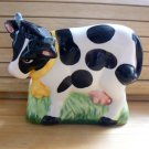 B/W Cow Bovine Ceramic Napkin Holder