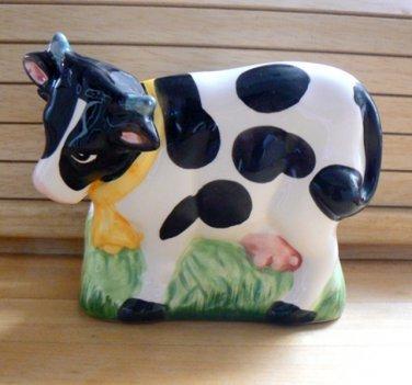 B/W Cow Bovine Ceramic Napkin Holder