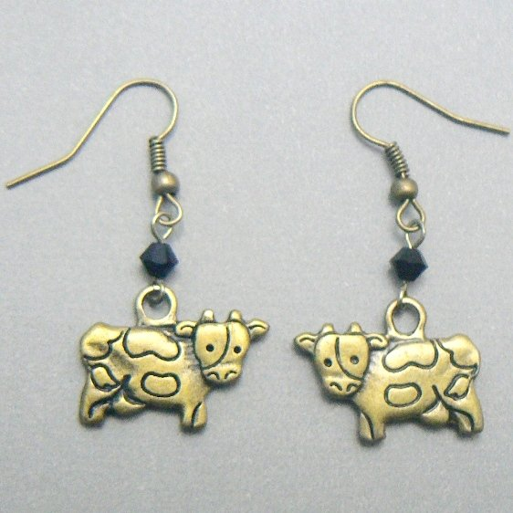Dairy Cow Antique Brass & Crystal Earrings
