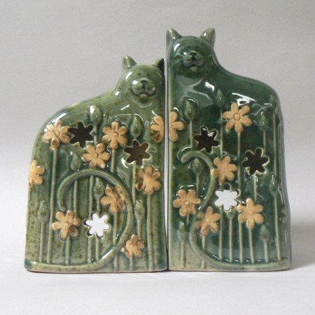Green Ceramic Kitty Cats Candle Holders