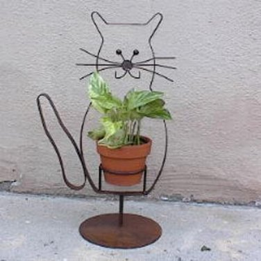 Rusted Metal Kitty Cat Plant Holder Planter