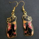 Black Cat Floral Cloisonné Enamel Dangle Earrings