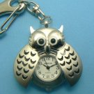 Owl Pocket Watch - Key Chain - Silver Toned