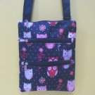 Owl Purse Small Nylon Messenger Bag Pink & Red on Black 8x10