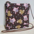 Small Square Purse Shoulder Bag w/ Owls & Hearts