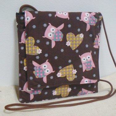 Small Square Purse Shoulder Bag w/ Owls & Hearts