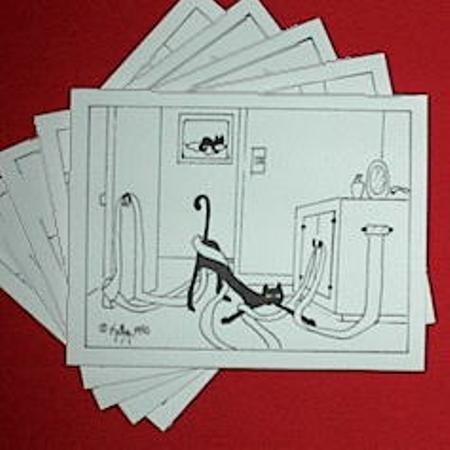 Finicky Black Cat Note Cards Set