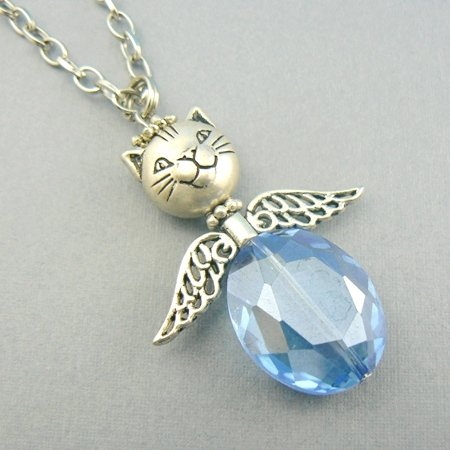 Cat Angel (Blue) Faceted Beaded Necklace