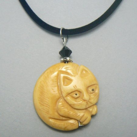 Round Carved Bone Kitty Cat Necklace