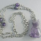 Amethyst KItty Cat Necklace w/ Beaded Earrings
