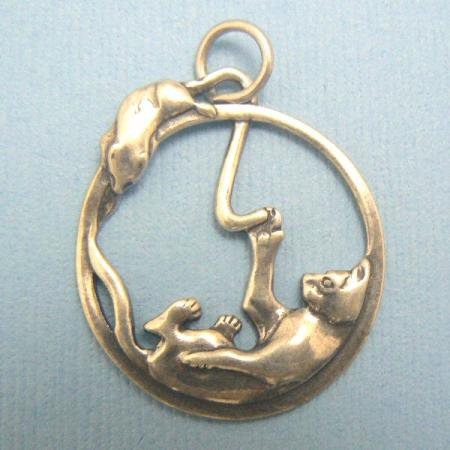 Kitty Cat & Mouse Sterling Silver Charm