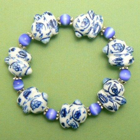 Chunky Rabbit Porcelain Bracelet - Blue / White