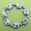 Chunky Rabbit Porcelain Bracelet - Blue / White