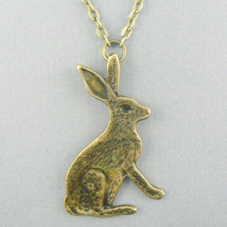 Jack Rabbit Bunny (Bronze) Chain Necklace